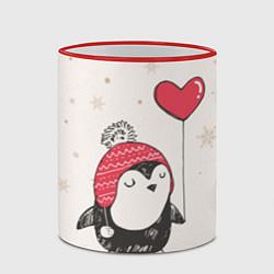 Кружка 3D Влюбленный пингвин цвета 3D-красный кант — фото 2