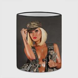 Кружка 3D Девушка в форме цвета 3D-черный кант — фото 2