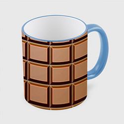 Кружка 3D Шоколад цвета 3D-небесно-голубой кант — фото 1