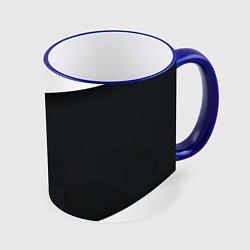 Кружка 3D Чёрно-белый цвета 3D-синий кант — фото 1
