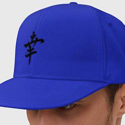 Кепка-снепбек Японский иероглиф Счастье цвета синий — фото 1