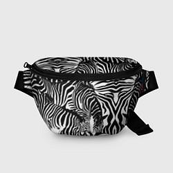 Поясная сумка Полосатая зебра цвета 3D-принт — фото 1