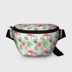 Поясная сумка Фламинго в тропиках цвета 3D-принт — фото 1