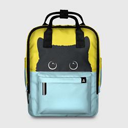 Рюкзак женский Черный кот выглядывает цвета 3D — фото 1