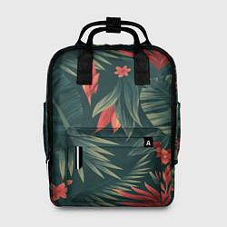 Рюкзак женский Зеленые тропики цвета 3D — фото 1