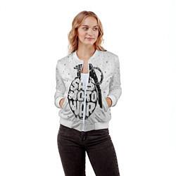 Бомбер женский Say no to War цвета 3D-белый — фото 2