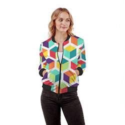 Бомбер женский 3D кубы цвета 3D-черный — фото 2