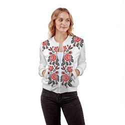 Бомбер женский Вышивка 28 цвета 3D-белый — фото 2