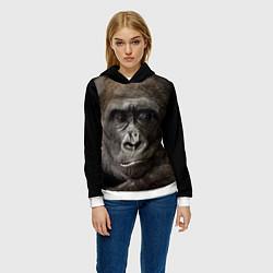 Толстовка-худи женская Глаза гориллы цвета 3D-белый — фото 2