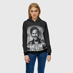 Толстовка-худи женская Pablo Escobar: Smile цвета 3D-черный — фото 2
