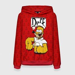 Толстовка-худи женская Duff Beer цвета 3D-красный — фото 1