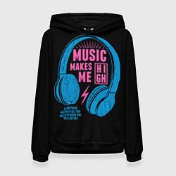 Толстовка-худи женская Музыка делает меня лучше цвета 3D-черный — фото 1