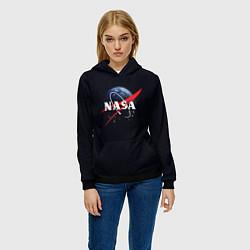Толстовка-худи женская NASA: Black Space цвета 3D-черный — фото 2