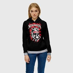 Толстовка-худи женская Stigmata Skull цвета 3D-меланж — фото 2