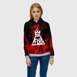 Толстовка-худи женская Fall Out Boy: Red Flame цвета 3D-меланж — фото 2