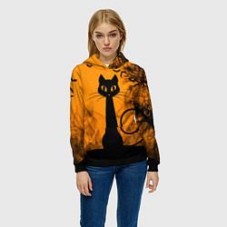 Толстовка-худи женская Halloween Cat цвета 3D-черный — фото 2