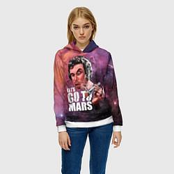 Толстовка-худи женская Elon Musk: Let's go to Mars цвета 3D-белый — фото 2