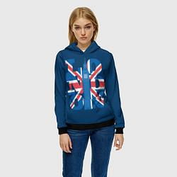 Толстовка-худи женская London: Great Britain цвета 3D-черный — фото 2