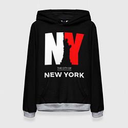 Толстовка-худи женская New York City цвета 3D-меланж — фото 1