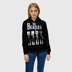 Толстовка-худи женская The Beatles: Black Side цвета 3D-черный — фото 2