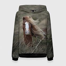 Толстовка-худи женская Конь цвета 3D-черный — фото 1