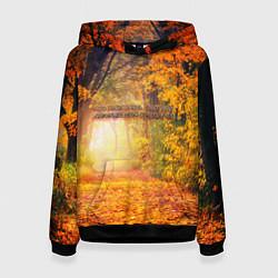 Толстовка-худи женская Что такое осень - это небо цвета 3D-черный — фото 1