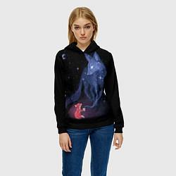 Толстовка-худи женская Лиса и ее дух цвета 3D-черный — фото 2