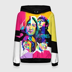 Толстовка-худи женская The Beatles: Poly-art цвета 3D-черный — фото 1