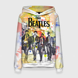 Толстовка-худи женская The Beatles: Colour Spray цвета 3D-белый — фото 1