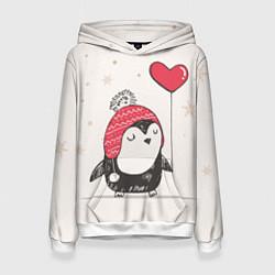 Толстовка-худи женская Влюбленный пингвин цвета 3D-белый — фото 1