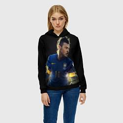Толстовка-худи женская Neymar: Brasil Team цвета 3D-черный — фото 2