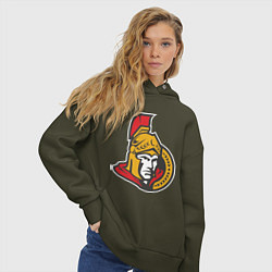 Толстовка оверсайз женская Ottawa Senators цвета хаки — фото 2