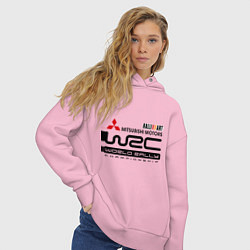Толстовка оверсайз женская Mitsubishi wrc цвета светло-розовый — фото 2