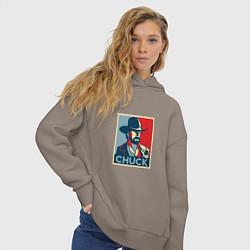 Толстовка оверсайз женская Chuck Poster цвета утренний латте — фото 2
