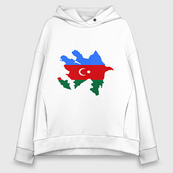 Толстовка оверсайз женская Azerbaijan map цвета белый — фото 1