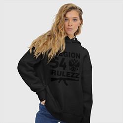 Толстовка оверсайз женская Region 54 Rulezz цвета черный — фото 2