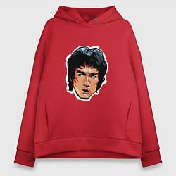 Толстовка оверсайз женская Bruce Lee Art цвета красный — фото 1