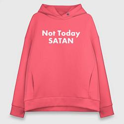 Толстовка оверсайз женская Not Today Satan цвета коралловый — фото 1