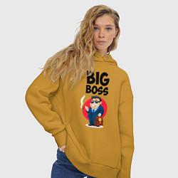 Толстовка оверсайз женская Big Boss / Начальник цвета горчичный — фото 2