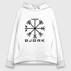 Толстовка оверсайз женская Bjork Rune цвета белый — фото 1