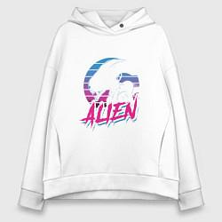 Толстовка оверсайз женская Alien: Retro Style цвета белый — фото 1