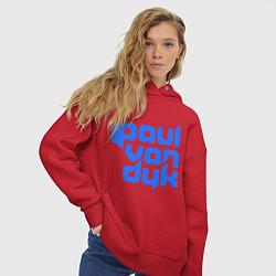 Толстовка оверсайз женская Paul van Dyk: Filled цвета красный — фото 2