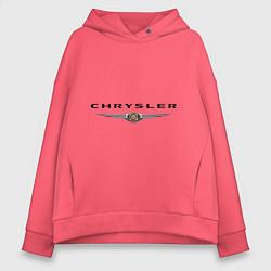 Толстовка оверсайз женская Chrysler logo цвета коралловый — фото 1
