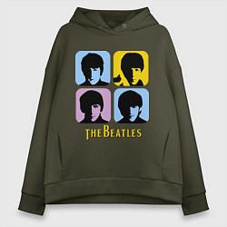 Толстовка оверсайз женская The Beatles: pop-art цвета хаки — фото 1