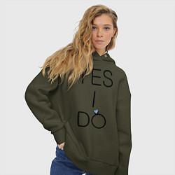Толстовка оверсайз женская Yes I Do цвета хаки — фото 2