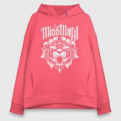 Толстовка оверсайз женская Miss May I: Angry Lion цвета коралловый — фото 1