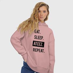 Толстовка оверсайз женская ЕСТЬ СПАТЬ ATEEZ ПОВТОРИТЬ цвета пыльно-розовый — фото 2