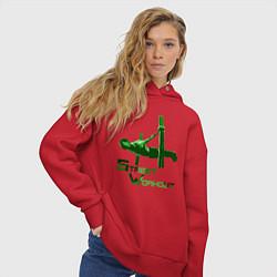 Толстовка оверсайз женская Street Workout Ласточка цвета красный — фото 2