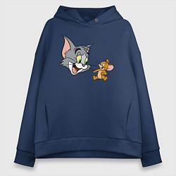 Толстовка оверсайз женская Tom & Jerry цвета тёмно-синий — фото 1