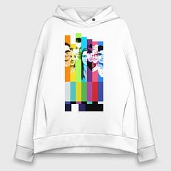 Толстовка оверсайз женская Big Bang Theory collage цвета белый — фото 1